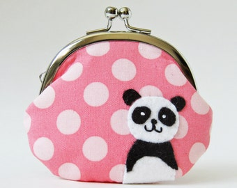 Coin purse kiss lock coin purse change purse panda on candy pink polka dots clasp purse kawaii animal black white kids