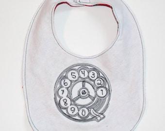 Retro Telephone Dial Embroidered Baby Bib - Hipster Baby Bib - Retro Baby Bib - Nerd Baby Gift - Techie Baby Bib - Geek Baby - White & Red