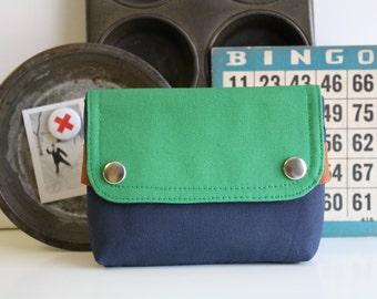 UNISEX pouch -  midnight blue + alpine  - small unisex canvas travel waist belt pouch