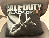 Gamer Throw Pillow Black Throw Pillow  14x14 Pillow Couch Cushion Recycled Throw Pillow Upcycle Throw Pillow Call of Duty Black Ops