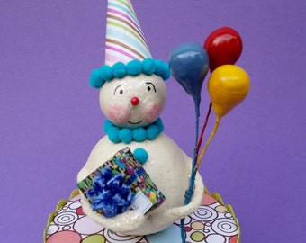Happy Birthday Snowman with Birthday Gift Package and Balloons Collectible Snowman