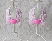 Pink Heart with Wings Hand Painted Candle Holders Home Decor Set of 2