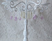 White with Pink Crystals & Pearls 6 Arm Candelabra Candleholder Shabby Chic Candle Holder Home or Wedding Decor