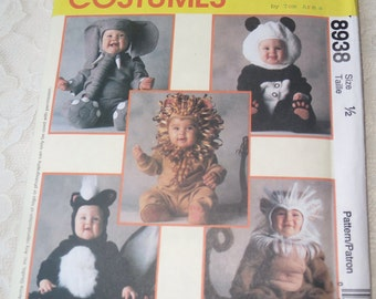 McCalls 8938 Sewing Pattern Elephant, Lion, Monkey, Skunk, Panda Bear Costumes Size Toddler Baby 1/2, OOP