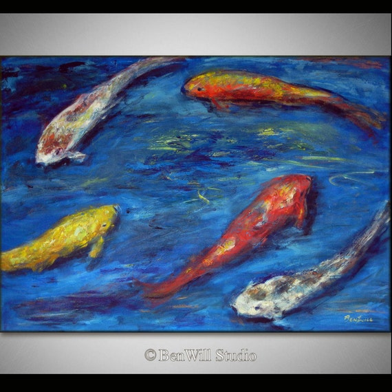 Koi fish painting large colorful painting koi art by benwill for Large koi fish