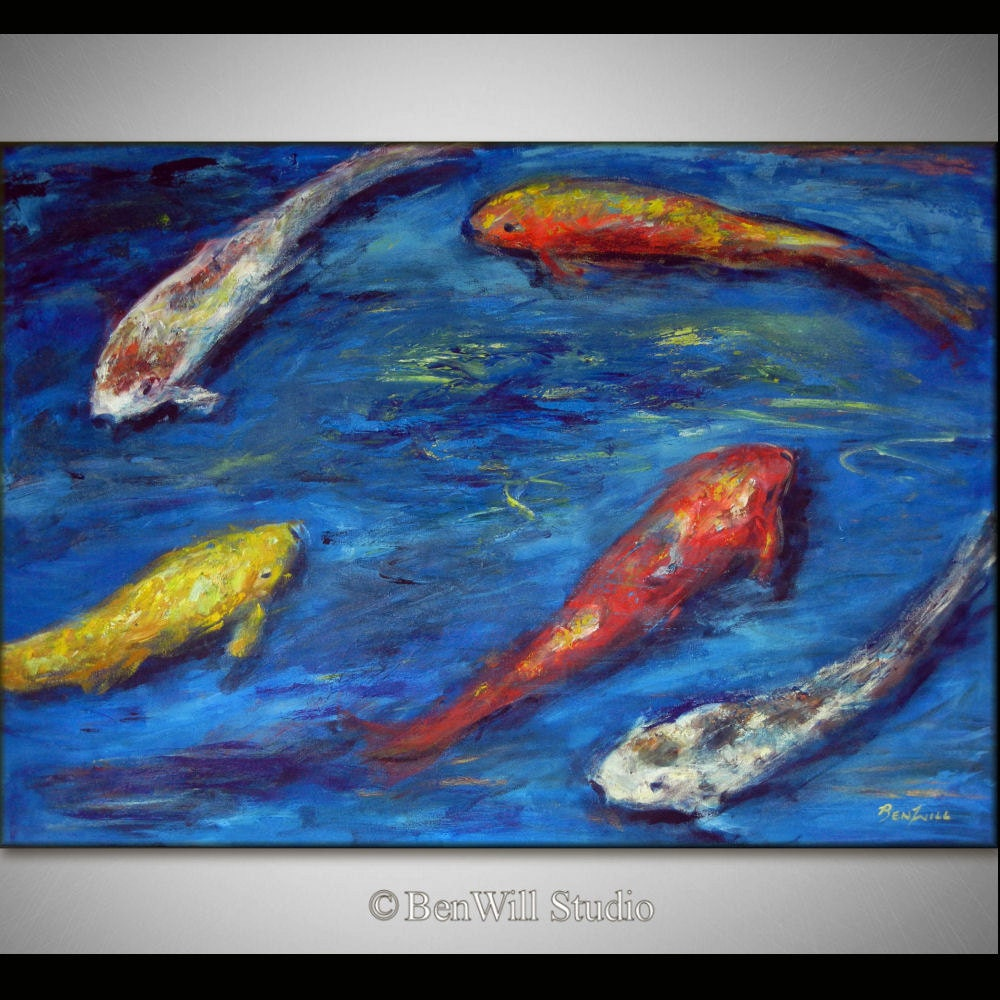 Koi fish painting large colorful painting koi art by benwill for Colourful koi fish