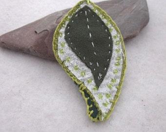 Dark Green Silver Beaded Fabric Leaf Brooch