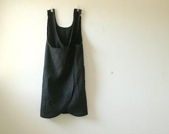 BLACK LINEN APRON / criss cross / linen pinafore dress / linen smock / organic / plus size / women clothing / made in australia / pamelatang