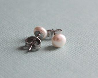 6mm Swarovski Pearl Post Earrings - Surgical Steel - Creme or Black