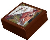 Keepsake Jewelry Box - Horse Ceramic Tile Lid - Pet Portraits by NC