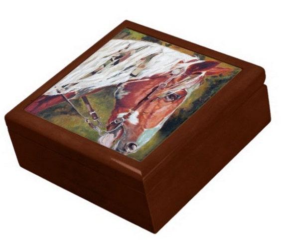 Keepsake Jewelry Box - Horse Ceramic Tile Lid - Pet Portraits by NC