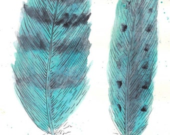 Found Turquoise Feathers II Original Watercolor