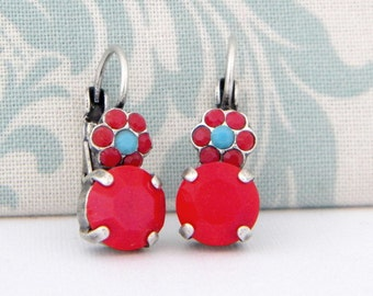 Red Coral Turquoise Swarovski Flower Drop Antique Silver Leverback Earrings
