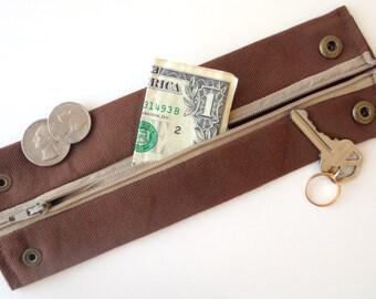 """Money Wrist Cuff- """"Secret Stash""""-  Coffee-  Hide your money, keys, jewels, health info, in a hidden inside zipper."""