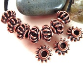 20 Copper Spacer Beads, 8mm, Wire Basket, Wire Lantern, Antiqued Copper, Solid Copper, Metal Spacer, Metal Rondelle, Wire Rondelle F053
