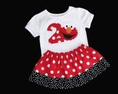 ELMO Birthday outfit... Sesame street inspired-- red and white polka dots