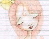 Print of my digitally enhanced sketch - Sketchbook Girl 10.2.14