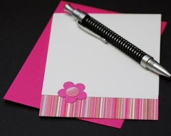 Bright Pink Stripes, blank greeting card