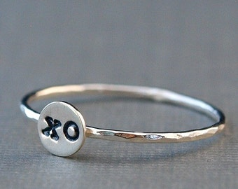 Tiny Silver Ring, Sterling Silver xo Ring, Girlfriend Gift