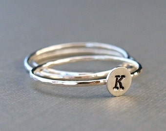 Custom Initial Ring Stack, Personalized Jewelry, Sterling Silver Tiny Rings