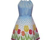 april showers full apron - raindrops and cute tulip garden hand screen print
