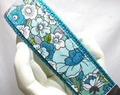 Wristlet Keychain Womens Key Fob  Periwinkle Floral