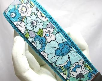Wristlet Keychain Womens Key Fob  Periwinkle Floral