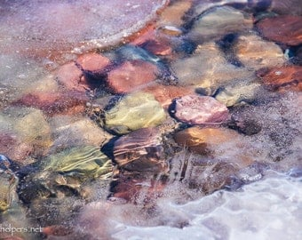 Magical Stones, Montana Lake Rocks, Rocks and Ice, Photograph or Greeting card