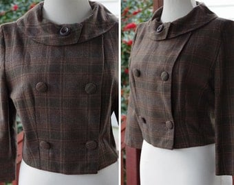PLAID 1950's 60's Vintage Dark Grey Brown Plaid Cropped Wool Jacket // size Small // Madmen // Made in ITALY