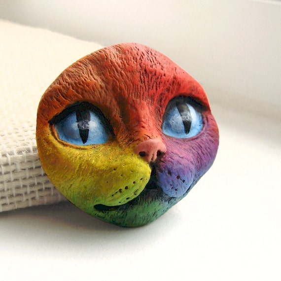 Rainbow Cat Face Cab Bright Colorful Polymer Clay Cabochon Kitty Animal Pet Blue Purple Red Orange Yellow Green 3358