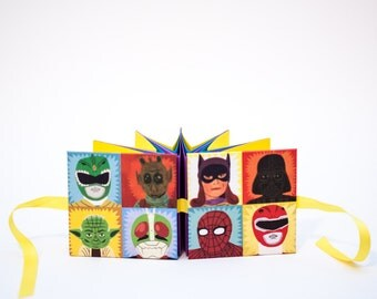 Comic Book Characters Blank Journal with Ribbon Closure, Small HandBound Book, Unique Star Book, Great Geek Gift