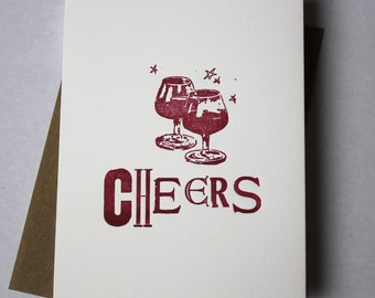 Cheers Letterpress Card - Vintage type with Found Drink Block ~ FREE shipping in US