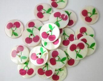 10 pcs 20 mm. Cute Cherry Round ShellButtons