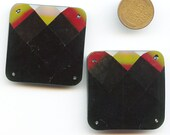 """SQUARE FACETED TRIM Sew On Victorian Black Glass Chunky 1 1/2"""" each side 9709"""