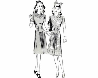 1940s Misses Basque Waist Dress Butterick 1867 Vintage Sewing Pattern Size 14 Bust 32