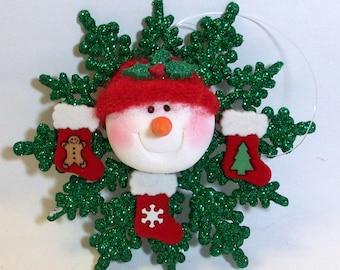 Green glittered snowflake Snowman ornament