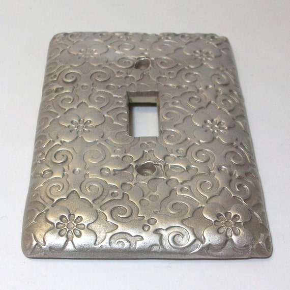 Swirls and flowers Silver light switch cover