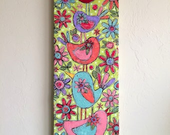 BUSY MOM Original Mixed-Media Collage Acrylic Sweet Bird Garden Floral Painting