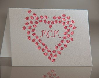 Mom Ladybug Card - Love Bug Card - Mothers Day Card - Pink Heart Mom Card - Mom Everyday Card - Letterpress Cards