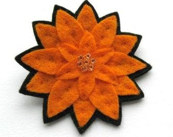 Orange Dahlia Brooch, felt flower brooch