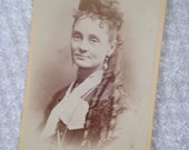 Antique CDV Portrait of Lady with Amazing Hair and Earrings
