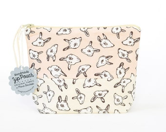 Animal Heads Boxy Patchwork Zipper Pouch | Original Fabric Design | Make-up/Cosmetic Bag