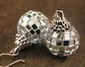 SALE Silver ornament earrings glass mirror ball handmade holiday Christmas earrings