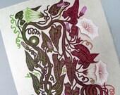 Woodcut Print, Woodblock Print, Snake Vine by Tugboat Printshop