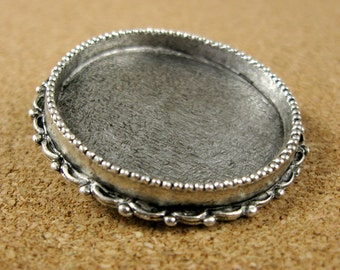Ornate Large Circle Convertible Brooch / Pendant Bezel Frame Tray Antiqued Sterling Silver Finish