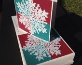 DEAL on 100 Snowflake Christmas cards greeted FREE SHIP