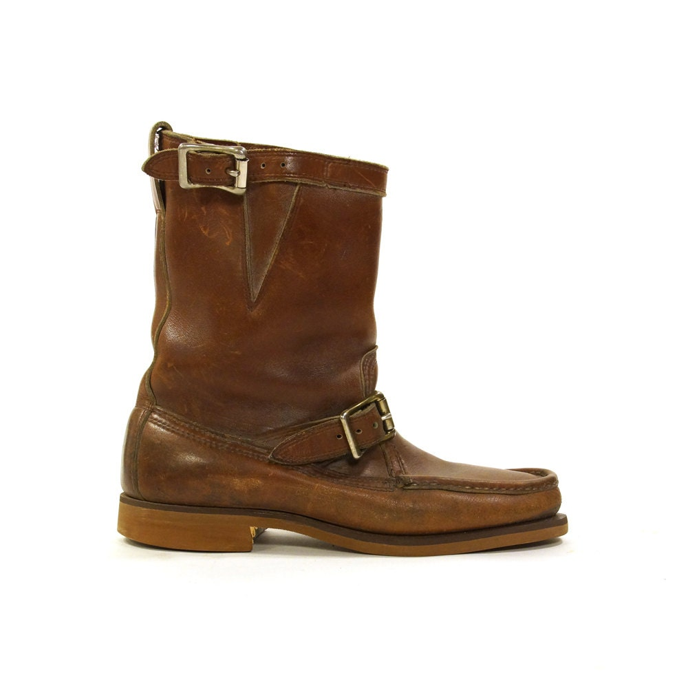 ll bean moto boots brown leather mid calf work boots with