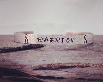 Silver WARRIOR Cuff Bracelet - Symbol of Stength, Endurance and Hope / Personalized Gift for HER