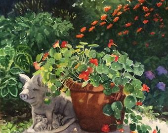 Original Watercolor Painting Nasturtiums, Flowers and Pig, Landscape, Large