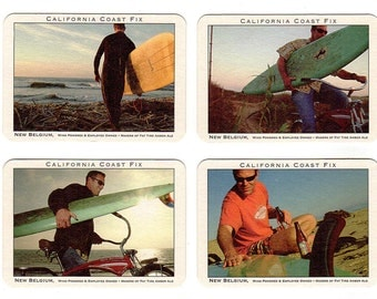 New Belgium Surfing Coasters Postcards Lot of 4 California Coast Fix Surfboards Advertising Postcards Paperink Graphics
